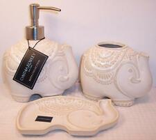 Cynthia Rowley Ceramic Beige Elephant Soap Dish Dispenser Toothbrush Holder Set
