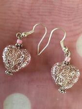 Hand Made Silver Coloured Drop Dangle Pierced Earrings Pink  Love Heart Drop 1""