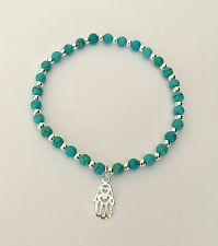 Ladies Turquoise & Sterling Silver Beaded Bracelet With Hamsa Hand Charm