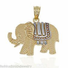 Elephant Pendant - Solid 10k Yellow Gold - 2 Tone Thailand Animal Zoo Asia NEW