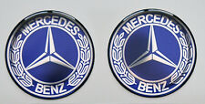 2pcs x MERCEDES BENZ Blue Vintage logo. Domed 3D Stickers/Decals. Diameter 50mm.