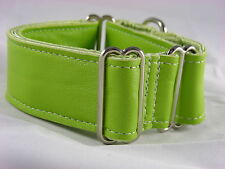 "1.5"" LIME GREEN LEATHER GREYHOUND MARTINGALE DOG COLLAR"