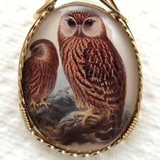 Barn Owls Brown Glass Cameo Cabochon Pendant 14K Rolled Gold Jewelry