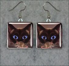 CAT SIAMESE AND MOUSE FUNNY SQUARE GLASS CABOCHON EARRINGS -jsd3Z