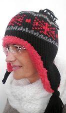DamenmützeStrickmütze Teddyfutter Schwarz/Rot  sehr dick  warm Wind,Winter.Mütze