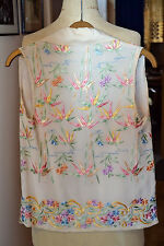 Vintage 1920 silk vest with Chinese embroidery in pastel colours size XS