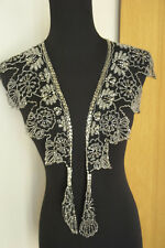Beaded Shawl Necklace Wrap Black Mesh Silver Beading Cross Over Tie Scarf