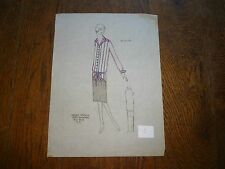 1920's 20's Art Deco dress ink watercolor fashion illustration Sheray Studios #2