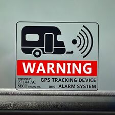 2 CARAVAN ALARM GPS TRACKING WARNING Security Sticker Decal - Van, Motorhome, RV