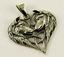 Nemesis Now Artist Lisa Parker Two Wolf Triquetra Heart Sterling Silver Pendant