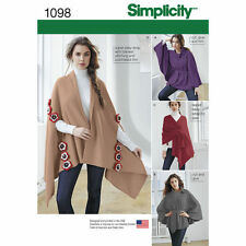 SIMPLICITY Sewing Pattern Miss Plus Fleece Ponchos and Wraps~1098  One Size