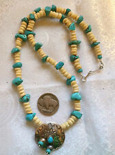 """Cool Ocean Sky Colors Begay Navajo Silver Concho Kingman Turquoise Necklace 19""""L"""
