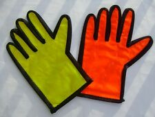 A Pair PVC Traffic Police Reflective Gloves Security Parking Red Palm Green Back