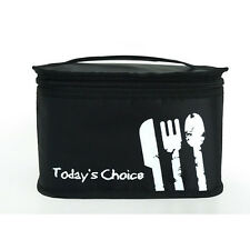 Black Insulated Thermal Lunch Bag Lunch Box Cooler Tote Bag Travel Handbag