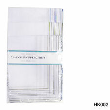 10 Pack Men's Stripe Border  Poly Cotton Handkerchiefs 35 x 30cm Hankie Hanky