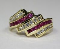14k Yellow Gold Round White Diamond And Princess Cut Red Ruby Ring Size 6.25