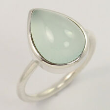 Natural AQUA CHALCEDONY Gemstone 925 Sterling Silver Ring Size US 7 Manufacturer