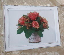 SHABBY WOOD 5X7  FRAME CHIC paris PINK ROSE in tin PRINT FRENCH COTTAGE DECOR