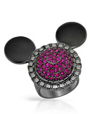 DISNEY  Mickey Mouse Lovely Ring W/Genuine Crystal in Black Base Metal Size 6