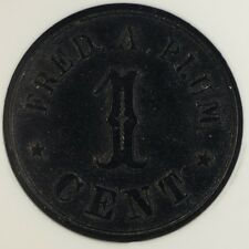 1861-65 Troy NY 1 Cent Civil War Store Token F-890C-2H NGC MS-62 Fred A Plum