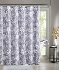 Purple Embossed Fabric Shower Curtain: White Floral Design