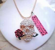 womens Betsey Johnson crystal skull rose 14k gold plated long chain 26-30 inch