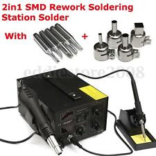 852D+ 2in1 Hot Air Gun Holder Soldering Rework Station  Iron Solder Tips 220V
