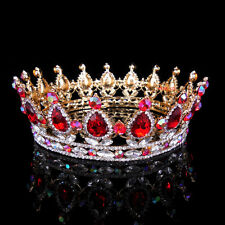 5cm High Ruby AB Red Luxury Crystal Gold King Crown Wedding Prom Party Pageant