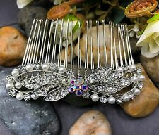 beautiful elegant wedding bridal hair comb pearl and crystal ha10229