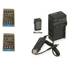 TWO 2 BLS-5 Batteries + Charger for Olympus Pen Digital E-PL2 E-P3 E-PL3 E-PM1