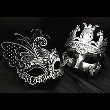 Silver Couple Women&Men Metal Venetian Mask Masquerade Prom Ball Party Wedding