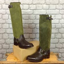 PENELOPE CHILVERS LADIES UK 7 EU 40 BROWN GREEN TALL LEATHER BOOTS RRP £350