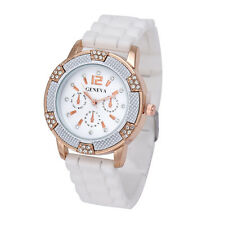 Women Rose Gold Chronograph Silicone with Crystal Rhinestones Watch Free Ship US