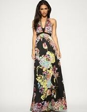Stunning Mango Bold Floral Print Halter Maxi Evening Occasion Dress Small 8/10