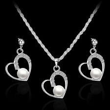 Delicacy Ladies Jewelry Set Heart Rhinestone Crystal Pendant Necklace Earrings