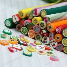 NEW 10pcs 3D Fruit Nail Art Fimo Canes Stick Rods Polymer Clay Stickers Decor