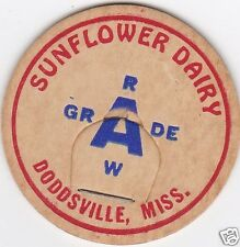 MILK BOTTLE CAP. SUNFLOWER DAIRY. DODDSVILLE, MS.