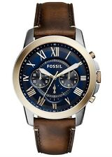 Fossil Watch * FS5150 Grant Chrono Blue, Gold & Brown Leather Men COD PayPal