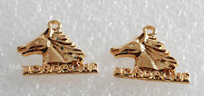 Vintage Retro Jordache Horse Charm Pair Gold PLated Metal Jewelry Making Pendant