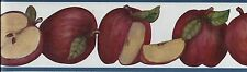 Country Apples with Blue Trim-2 rolls= 30 feet WALLPAPER BORDER