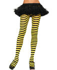 New Leg Avenue 7100 Black And Yellow Nylon Stripe Tights Pantyhose