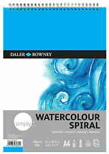 DALER ROWNEY SIMPLY SPIRAL A4 WATERCOLOUR PAD 190gm 90lb ARTIST PAPER 12 SHEETS