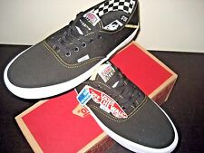 Vans Authentic SF Mens Black Spruce Yellow Canvas Shoes Size 10 VN000UANHJV NWT