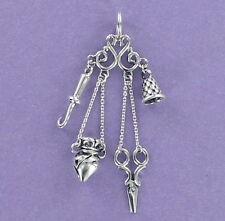 Chatelaine Charm Sterling Silver for Bracelet Sewing Victorian Thimble Keys Hook