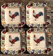 "4 Noble Excellence Napa Chanticleer Square 9"" Salad Plate TEAL Rooster Fruit"