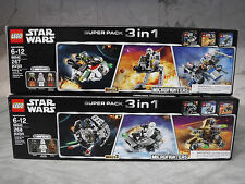 NEW SEALED LEGO Star Wars (x2) Super Packs with 6 minifigs, 6 vehicles