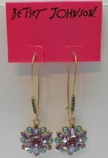 Betsey Johnson Stargazer Mixed Bead Long Drop Shepherds Hook Earrings