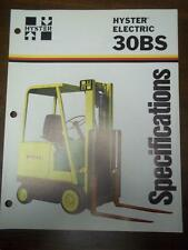 Hyster Lift Truck Brochure~Electric E30BS~Specifications~Catalog Insert 1976