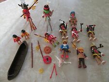 Vintage Lot 1974 Geobra Playmobil Western Cowboys Indians Horses Boys Girls