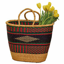Colorful Grass Market Basket African Hand Woven Shopping Tote